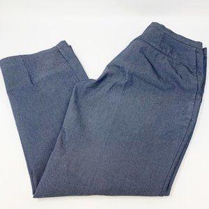 MNG Mango Dark Chambray Crop Capri Pants Trousers